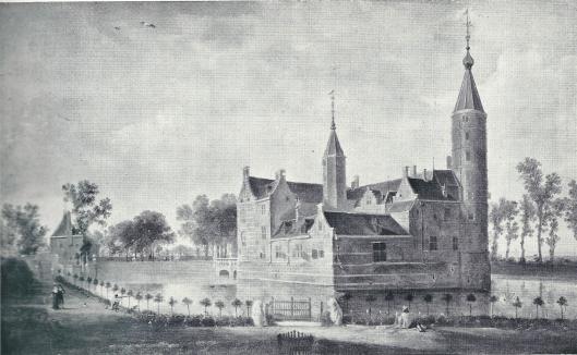 Het slot van Heemstede, achterzijde en rechtervleugel, in 1645 geschilderd door N.van Berghem