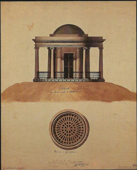 Ontwerp van ijskelder met paviljoen op Oud-Berkenrode door J.G.Michael, 1794. Aanzicht en plattegrond vloer. Het is niet zeker dat het ontwerp werd uitgevoerd