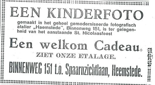 Advertentie van fotoatelier 'Haemstede' uit de Heemsteder van 1934