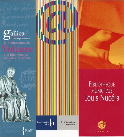 V.l.n.r.: Bibliothèque Voltaire à la Biblioth. Nationale de Russe; Büchereien Wien; Bibliothèque Municipale Louis Nucéra, Nice