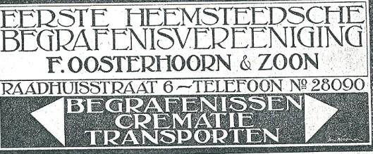 F.Oosterhoorn bewoog zich als ondernemer op diverse terreinen. Adv. uit 1927