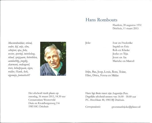 I.M. HANS ROMBOUTS