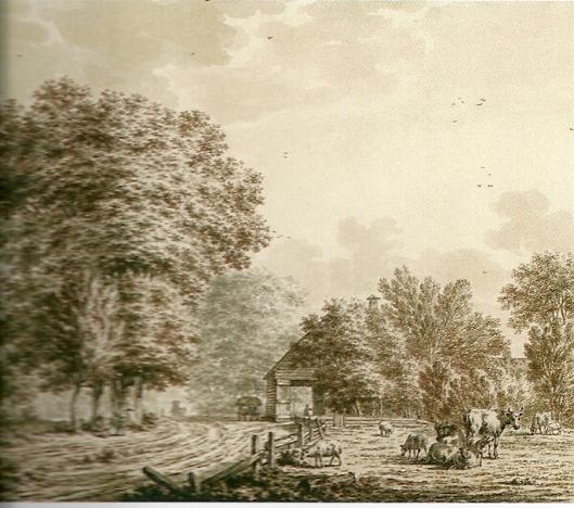 Herberg de Geleerde Man te Bennebroek op een tekening van J.Cats uit 1773