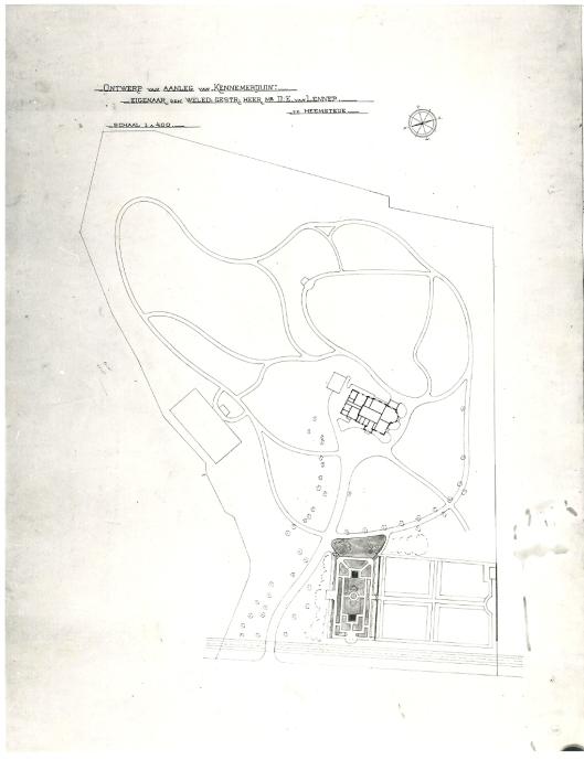 Ontwerp tuinaanleg Kennemerduin, 1904, door L.A.Springer (Centrale Bibliotheek Landbouwuniversiteit Wageningen)