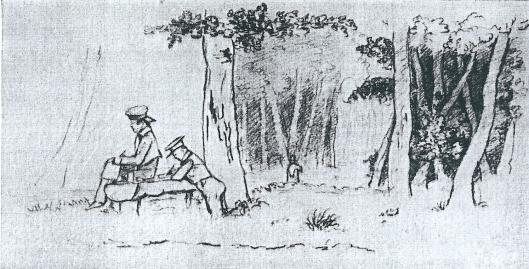 Jan en Willem van Eeghen aan het tekenen bij Uit den Bosch. Tekening vermoedelijk van A.C.van Eeghen-Huidekoper uit omstreeks 1835.