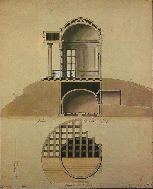 Dwarsdoorsnede ijskelder en paviljoen Oud-Berkenrode door architect J.G.Michael, 1794