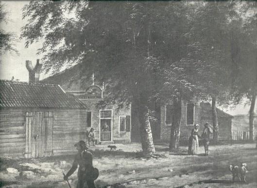 Etabliossement De Konijnenberg aan de Herenweg in Heemstede omstreeks 1800 naar een verdwenen schilderij van F.T.Renard