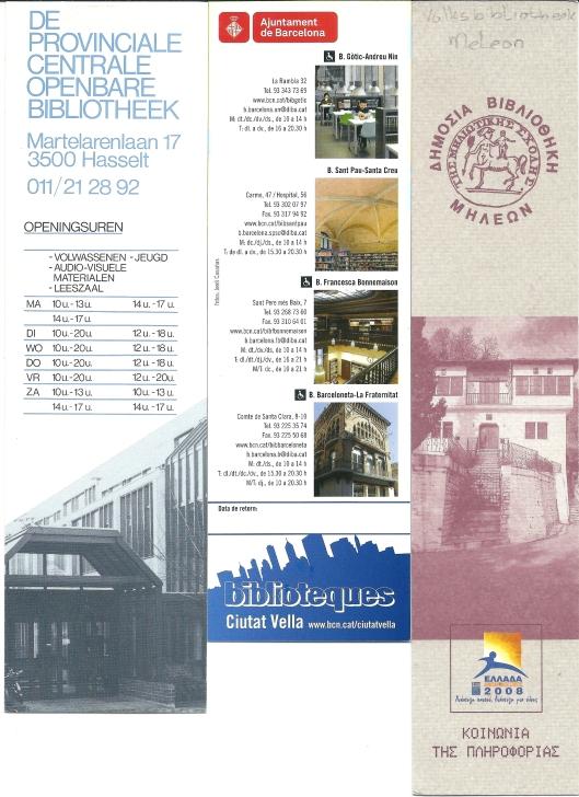 V.l.n.r.: Provinciale Centrale Openbare Bibliotheek Hasselt; Biblioteca Ciutat Vella Barcelona; volksbibliotheek Meleon, Griekenland