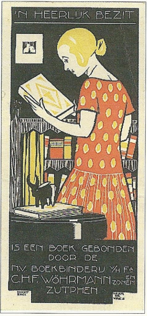 Bladwijzer met reclame voor boekbinderij vh firma C.H.F.Wöhrmann en Zonen in Zutphen uit circa 1925 [ook bestaande in Engelse uitvoering voor J.Thornton & Zn., boekverkopers in Oxford].