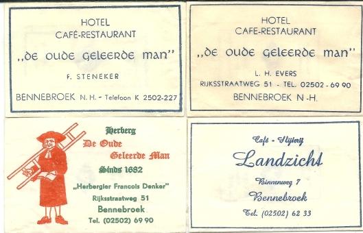 Suikerzakjes van de Oude Geleerde Man in Bennebroek o.l.v. F.Steneker (1940-1960), L.H.Evers (1960-1965) en F.Denker (1965-1970. Voorts van Café-slijterij Landzicht, Binnenweg 7 Bennebroek