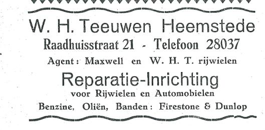 W.H.Teeuwen. Advertentie uit 1927