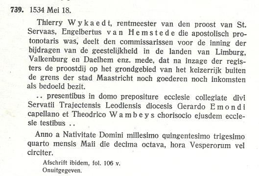 Uit: P.Doppler. Verzameling van charters...tweede deel, nummer 739, blz. 103.