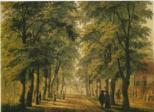 Tekening van H.Keun uit 1767 met een gezicht op de haarlemmerhout, de Oude Houtweg, tegenwoordig Koningin Wilhelminalaan. Rechts de hofstede Houtlust en aan het eind van de weg: Spruitenbosch (NHA)