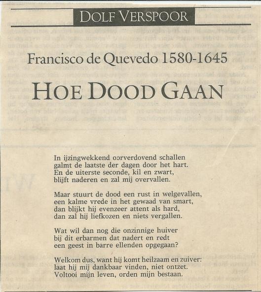Vertaling van vers door Francisco de Quevedo uit De Volkskrant van 20 september 1991