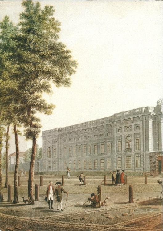 Linkerdeel van prent door August Comté: het huis Welgelegen van Henry Hope, 1792.