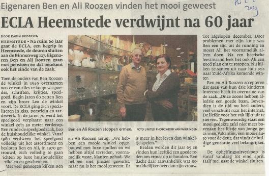 Bericht over sluiting ECLA uit het Haarlems Dagblad van 2-2-2009