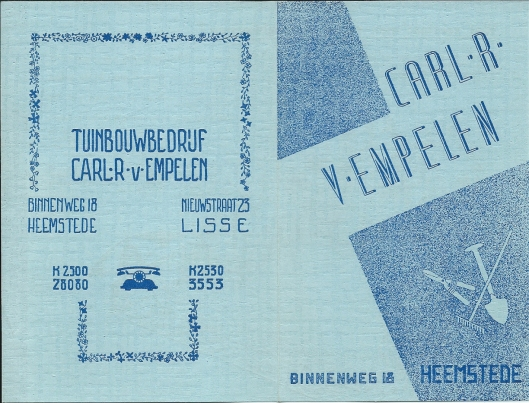 Flyer Carl R.van Empelen, circa 1950 (1)