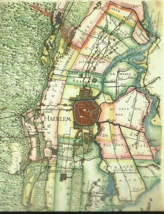 Tussen 1609 en 1615 vervaardigde landmeter Floris Balthasars, geassisteerd dor zijn zoon Balthasar Floriszoon van Berkenrode (bij Delft) o.a. deze kaart van Rijnland, waarop de stad Haarlem en diverse omliggende ambachten zoals Berckeroo ten zioden van de stad zijn ingetekend