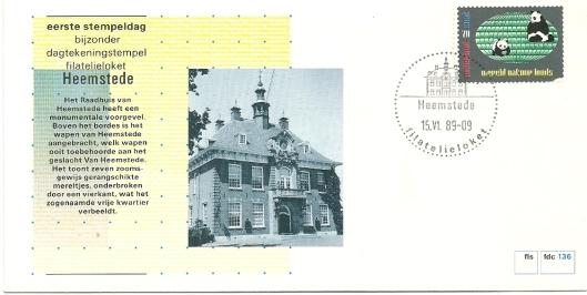 Eerste stempeldag filatelieloket Heemstede, 15 juni 1989 met op enveloppe een afbeelding van het raadhuis Heemstede