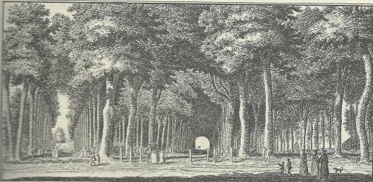 'De ingang van den Hout, by 't Dronckenhuisje' , gravure door Hendrik Spilman, 1762