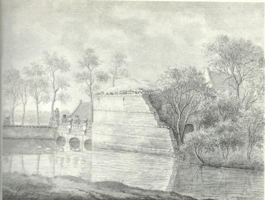 Ruïne van het slot te Heemstede. Gewassen pentekening van J.Pannebakker, gedateerd 18-6-1817