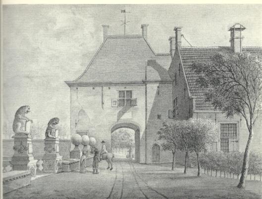 Poortgebouw van het Huis te Heemstede. Gewassen pentekening van J.Pannebakker, 1817