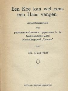 Titelblad van het door Chr.J.van Vliet gepubliceerde boek