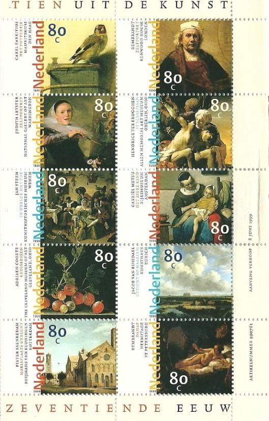 8 juni 1999 gaf PTT Post twee velletjes bijzondere zegels uit gewijd aan de zventiende eeuwse schilderkunst met o.a. een zelfportret van Judith Leyster (National Gallery of Art, Washington) en 'Gezicht op Haarlem' van Jacob van Ruisdael (Kunsthaus Zürich)