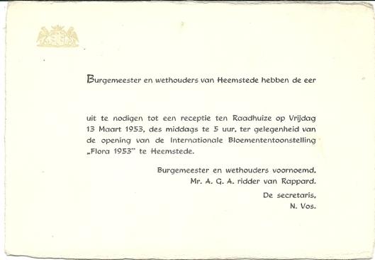 Uitnodiging van gemeentebestuur receptie opening Flora 13 maart 1953