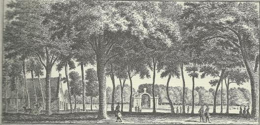'Gezigt in den Hout by Uit den Bosch, 'gravure door Hendrik Spilman, 1762