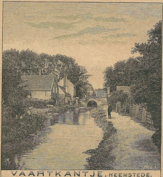 Vaartkantje Heemstede met historische stenen brug. Zondagsblad, 26 juli 1909