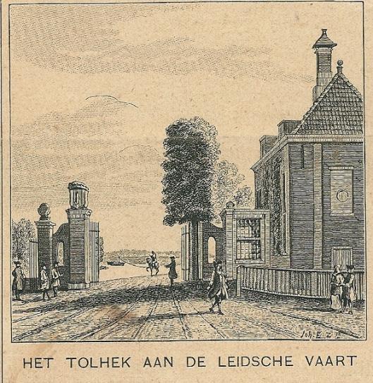 Het tolhek aan de Leidsche vaart. Zondagsblad, 6 mei 1911.