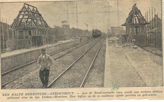 Bericht over bouw van de perrons en haltegebouwtjes staiton Heemstede-Aerdenhout.