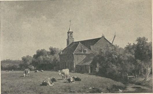 Schilderij van de kerk en pastorie van Berkenrode Heemstede, vermoedelijk vervaardigd door Willem Vester