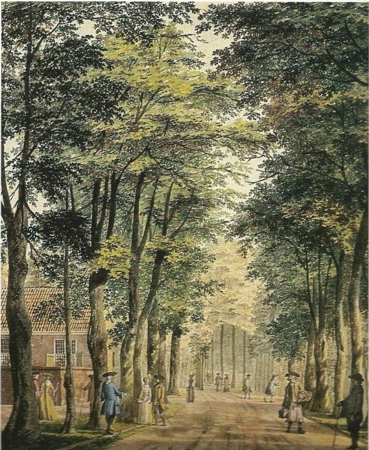 Nog een tekening van H.Keun uit 1767 in de Haarlemmerhout, vooral op zondag geliefd als wandelgebied (NHA)