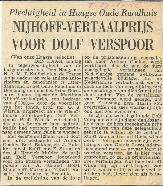 Bericht over het ontvangen van de Nijhoff-vertaalprijs uit de Telegraaf van 27 januari 1958