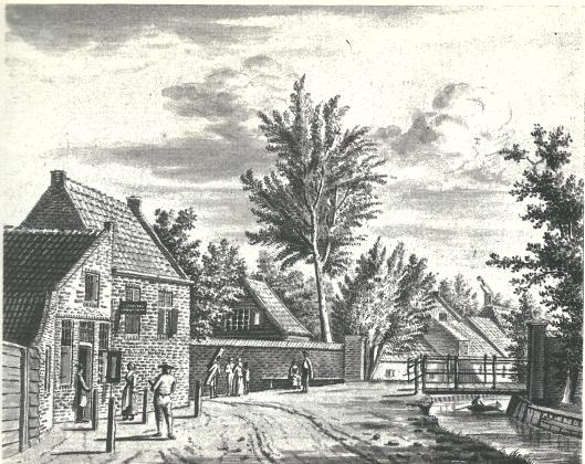 De herberg Emaus met rechts de Emausbrug. Sepiatekening uit 1779 van de Haarlemse kunstenaar P.van der Kloot; in 1778 vervaardigde Jordanus Hoorn een vergelijkbare tekening (in bezit van het NHA)
