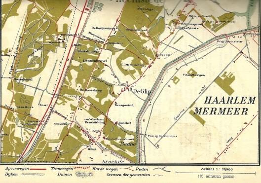 Kaartje van zuidelijk deel Heemstede met Dennenheuvel, gelegen tussen Huis te Manpad en Meer en Berg