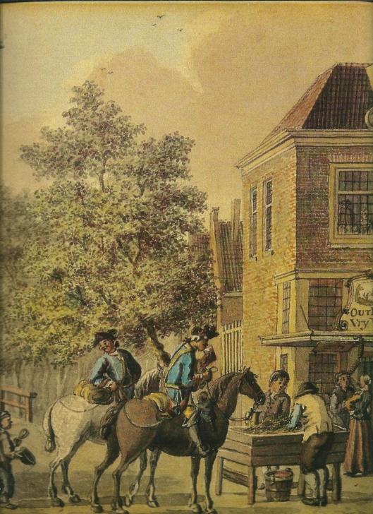 Deel van tekening 'oud-Rome' door Jan de Beijer uit omstreeks 1750. In deze herberg konden voorbijtekkende reizgigers hun dorst lessen en de paarden uitrusten (Noord-Hollands Archief)