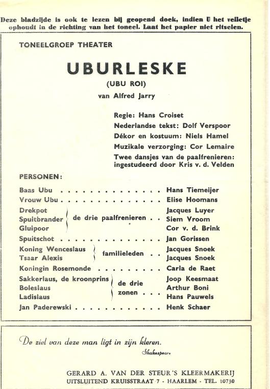 Uit programma toneelgroep Theater van het stuk 'Unurleske '(Ubo Roi) van Alfred Jarry, vertaald door Dolf Verspoor