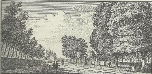'Gezigt op de Heerenweg na 't Posthuis te zien' ; kopergravure door Hendrik Spilman, 1762