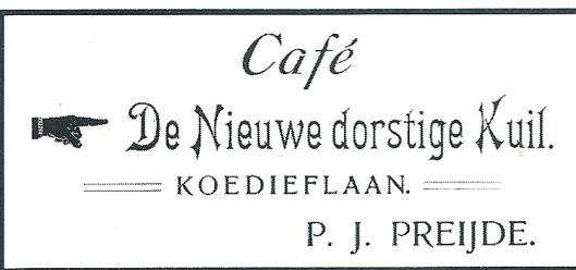 Annonce van café De Nieuwe Dorstige Kuil