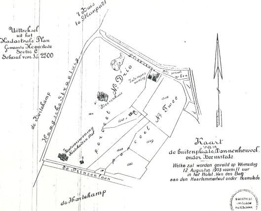 Kaart bij veiling buitenplaats Dennenheuvel in 1903 (bibliotheek Universiteit Wageningen)