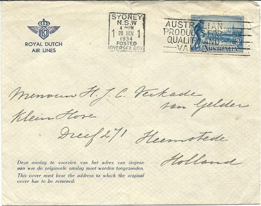 Voorzijde enveloppe van met de Uiver in 1934 verzonden schrijven naar mw. H.J.C.Verkade-van Gelder, Heemsteedse Dreef 271, Heemstede