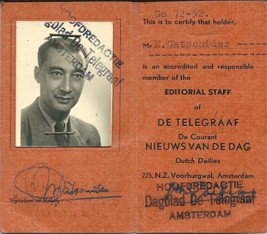 In 1995 ontving ik als een herinnering aan de sympathieke coureur en uitvinder de perskaart van Maus Gatsonides die hij als medewerker van De Telegraaf had ontvangen,