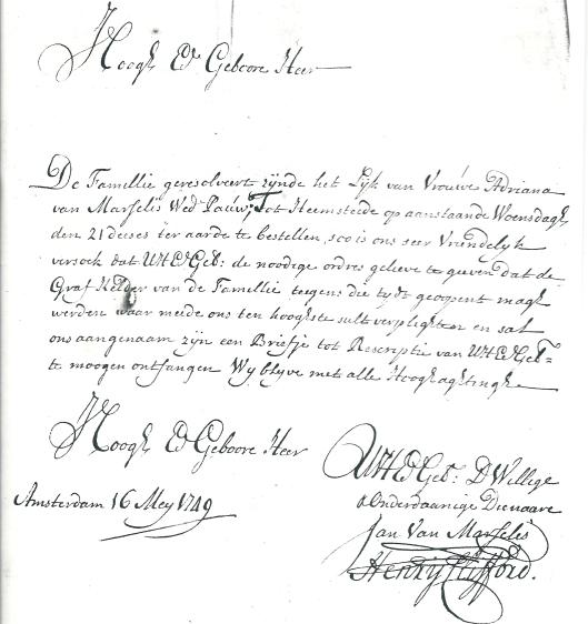 Bericht van Jan van Marcelis en Henry Clifford dat het lijk van Vrouwe Adriana van Marcelis, weduwe Pauw in de familiegrafkelder kan worden bijgezet. Amsterdam, 16 mei 1749 (Stadsarchief Amsterdam)
