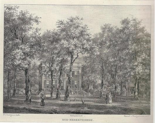 Oud Berkenroede op een steendruk van P.J.Lutgers uit omstreeks 1840