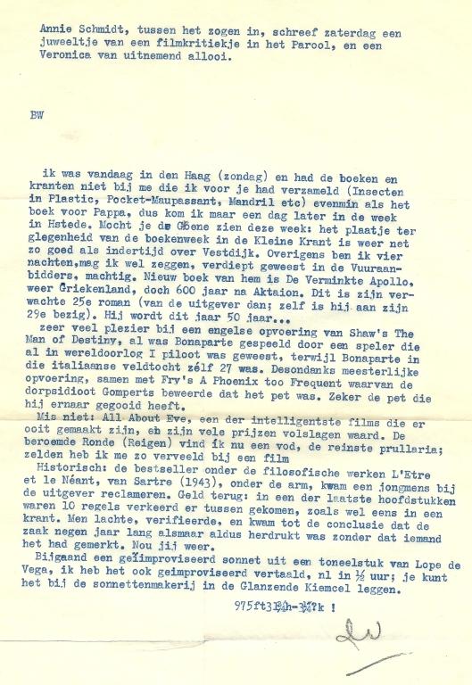 Brief van Dolf Verspoor aan zijn broer Wim Verspoor in Heemstede [BW = Beste Wim].
