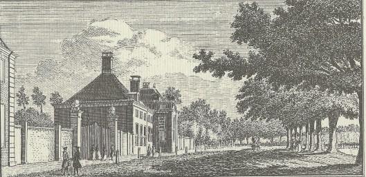 'Gezigt by de Hofstede Meer-en-Berg', gravure door Hendrik Spilman, 1763