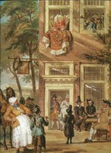 Aquarel van Cornelis Troost uit 1742 met voorstelling van het bezoek van de ambassadeur der Labberlotten (Teylers Museum)